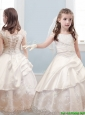 Fashionable Bateau Cap Sleeves Champagne Flower Girl Dress with Lace and Belt