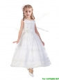 Lovely Scoop A Line Flower Girl Dress with Hand Made Flowers and Lace