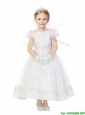 Modest Scoop Cap Sleeves Organza Flower Girl Dress with Appliques
