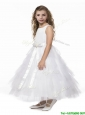 New Style Scoop Ruffled Layers and Bowknot Flower Girl Dress in White