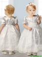 Popular Scoop Short Sleeves Flower Girl Dress with Beading and Appliques