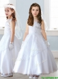 See Through Scoop Cap Sleeves Flower Girl Dress with Lace