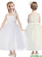 See Through Scoop Tulle Flower Girl Dress with Appliques and Beading