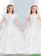 Sweet Scoop Big Puffy Flower Girl Dress with Lace and Embroidery