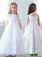 Top Selling Spaghetti Straps White Flower Girl Dress with Appliques