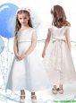 Modest Scoop Cap Sleeves Satin Flower Girl Dress with Sashes