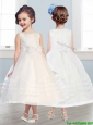 Wonderful Scoop Tulle Bowknot Flower Girl Dress in Champagne