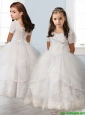 Best Square Short Sleeves White Little Girl Pageant Dress with Beading and Appliques