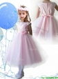 Lovely Scoop Hand Made Flowers and Appliques Little Girl Pageant Dress in Baby Pink