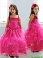Popular Spaghetti Straps Lace and Ruffled Layers Little Girl Pageant Dress in Hot Pink