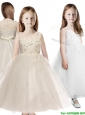 See Through Scoop Appliques Little Girl Pageant Dress in Champagne