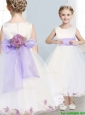 Fashionable Scoop Hand Made Flowers and Appliques Little Girl Pageant Dress in White