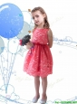 New Style Scoop Sashes and Lace Little Girl Pageant Dress in Coral Red