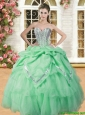Beautiful Spring Green Sweet 16 Dress with Beading and Pick Ups
