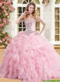 Discount Organza Pink Sweet 16 Dress with Appliques and Ruffles