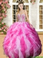 Lovely Beaded and Ruffled Sweet 16 Dress in Hot Pink and White