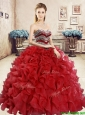 2016 New Style Organza Red Sweet 16 Dress with Beading and Ruffles