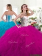 2016 Unique Fuchsia Tulle Quinceanera Dress with Beading and Ruffles