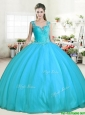 Affordable Aqua Blue Tulle Quinceanera Dress with Beading