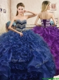 Affordable Beaded and Ruffled Organza Quinceanera Dress in Navy Blue