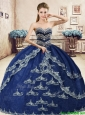 Classical Navy Blue Organza Sweet 16 Dress with Beading and Appliques