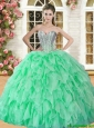 Lovely Spring Green Sweet 16 Dress with Beading and Ruffles