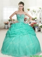 Romantic Apple Green Sweet 16 Dress with Beading and Pick Ups