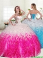 Unique Hot Pink and White Quinceanera Dress with Beading and Ruffles