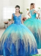 Unique Straps Rainbow Quinceanera Dress with Ruffled Layers and Beading