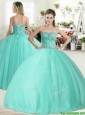 Wonderful Apple Green Quinceanera Dress with Beading for Spring