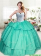 Wonderful Beaded and Ruffled Layers Sweet 16 Dress in Apple Green for Spring