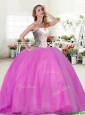 Wonderful Beaded Really Puffy Quinceanera Dress in Hot Pink