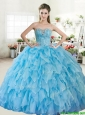Wonderful Big Puffy Baby Blue Quinceanera Dress with Beading and Ruffles