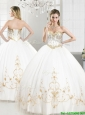 2016 Elegant Beaded and Applique Tulle Sweet 16 Dress in White