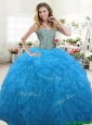 Hot Sale Beaded Bodice and Ruffled Quinceanera Dress in Aqua Blue