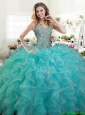 Lovely Turquoise Organza Quinceanera Dress with Beading and Ruffles