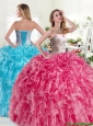 Modest Beaded and Ruffled Organza Quinceanera Dress in Hot Pink