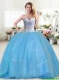 Modest Beaded Tulle Sweet 16 Dress in Baby Blue