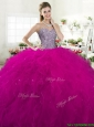 Exclusive Beaded Bodice and Ruffled Tulle Quinceanera Dress in Fuchsia