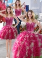 Visible Boning Beaded Bodice and Ruffled Detachable Quinceanera Dresses in Hot Pink and Champagne