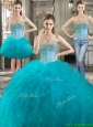 Latest Really Puffy Tulle Detachable Quinceanera Dresses with Beading and Ruffles