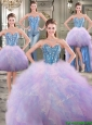 Perfect Big Puffy Rainbow Detachable Quinceanera Dresses with Beading and Ruffles
