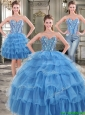 Popular Big Puffy Blue Detachable Tulle Quinceanera Dresses with Beading and Ruffled Layers