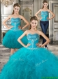 Discount Big Puffy Teal Detachable Quinceanera Dresses with Beading and Ruffles