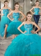 Exclusive Big Puffy Teal Detachable Quinceanera Dresses with Beading and Ruffles