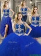 Gorgeous Off the Shoulder Royal Blue Detachable Quinceanera Dresses with Beading and Ruffles