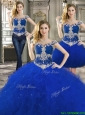 Latest Off the Shoulder Cap Sleeves Detachable Quinceanera Dresses with Beading and Ruffles