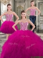 Wonderful Beaded and Ruffled Detachable Quinceanera Dresses in Fuchsia