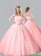 Classical Court Train Belted and Applique Sweet 16 Quinceanera  Dress in Baby Pink
