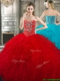 2016 New Style Red Tulle Sweet 16 Dress with Beading and Ruffles